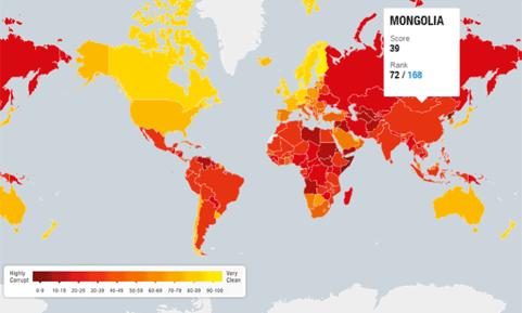 Авлигын төсөөллийн индексээр Монгол Улс 72 дугаар байрт жагсав
